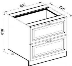 Модуль Н 80 2Ш низ кухня Роксана