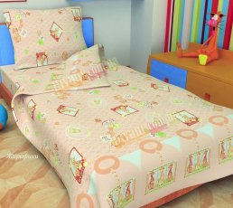 Детский полуторный комплект постельного белья Жирафики