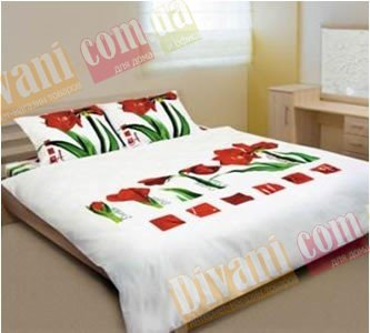 Двухспальный комплект постельного белья Сoleen -622-Лілія червона
