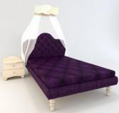 Кровать с тканевым изголовьем Гламур