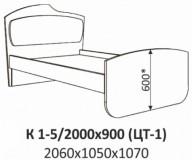 Кровать с одинарной тканевой накладкой К 1-5 (цт-1) Планета Луна