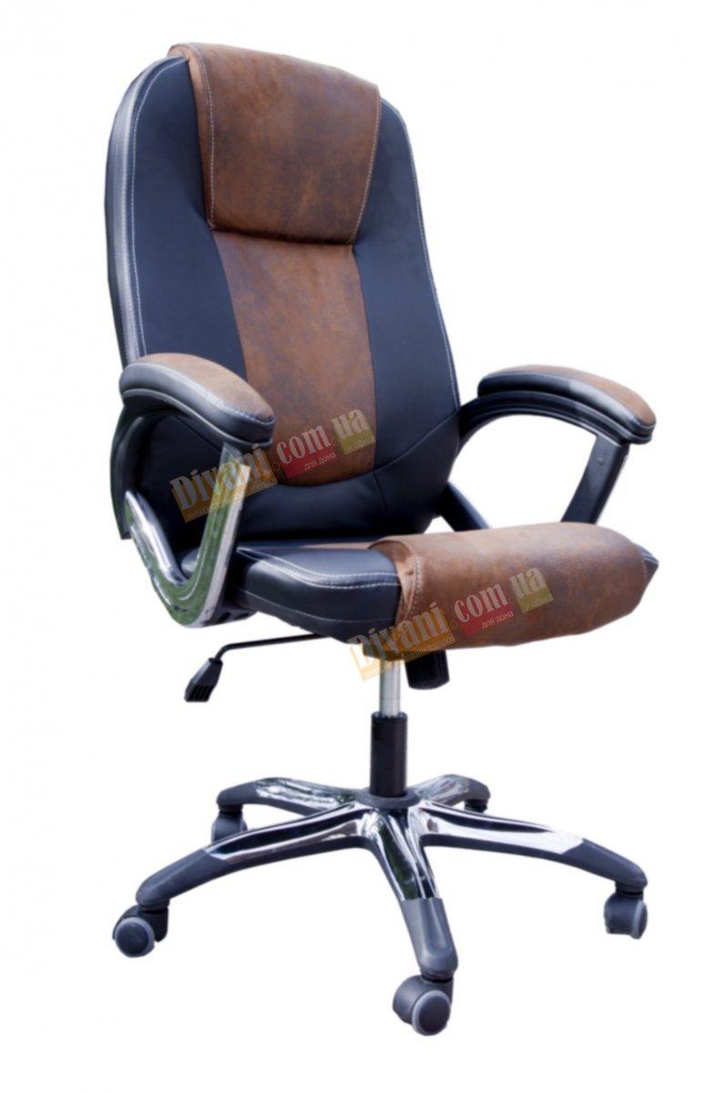 Кресло руководителя 8007 кожзам черн/коричн