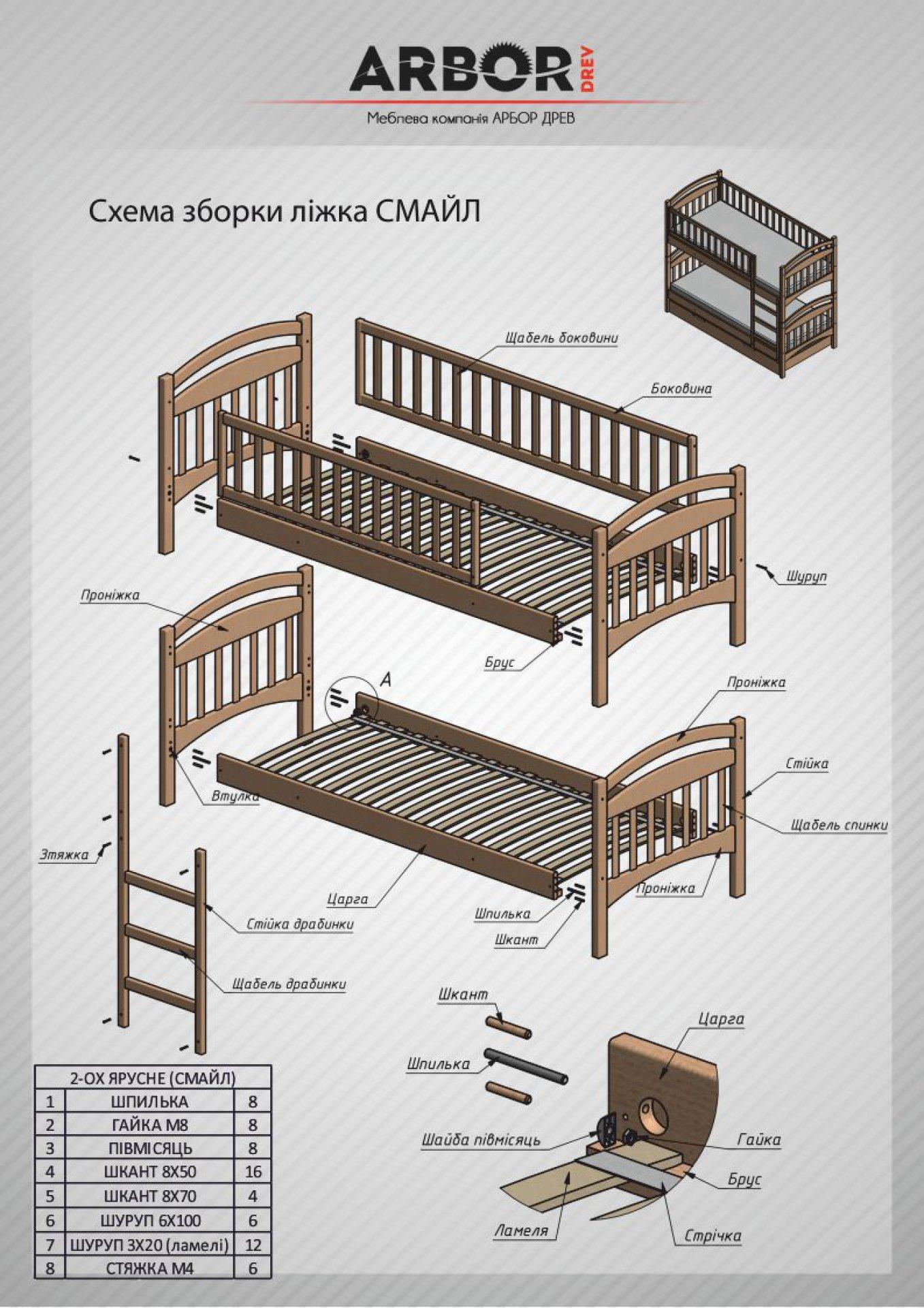 Кровать двухъярусная ат 9125 схема сборки