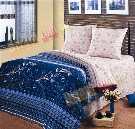 Евро комплект постельного белья Индиго