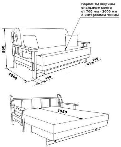 Диван спальное место 200