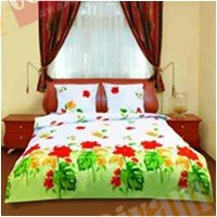 Полуторный комплект постельного белья Монстера желтая -590
