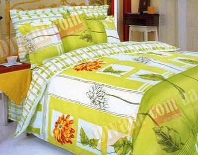 Полуторный комплект постельного белья Гербера оранжевая -601