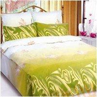 Полуторный комплект постельного белья Осенний лист зеленый -666