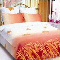 Полуторный комплект постельного белья Осенний лист коричневый -668