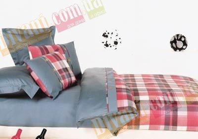 Полуторный комплект постельного белья Шотландка красная -734
