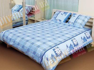 Евро комплект постельного белья Ромашка клетка синяя -515