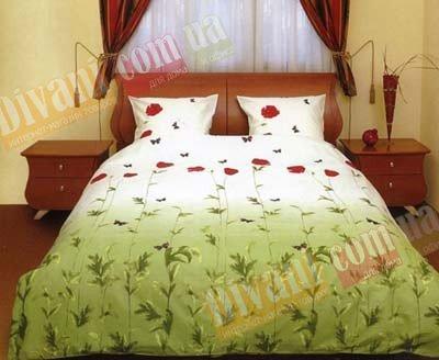 Евро комплект постельного белья Маки зеленые с бабочками -533