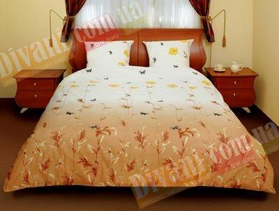 Евро комплект постельного белья Маки коричневые с бабочками -534
