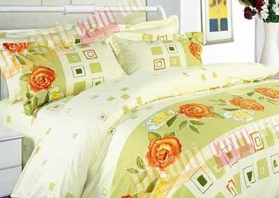 Евро комплект постельного белья Роза с кубиками -595