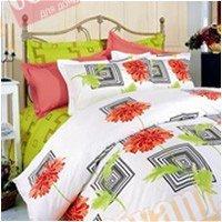 Евро комплект постельного белья Красная хризантема -603