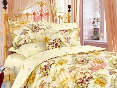 Евро комплект постельного белья Кремовые ириски -638