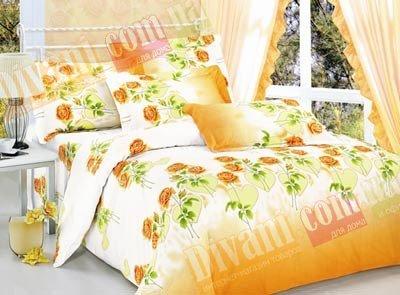 Евро комплект постельного белья Роза в сердце оранжевая -715