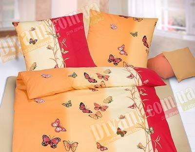 Евро комплект постельного белья Цветные бабочки -717