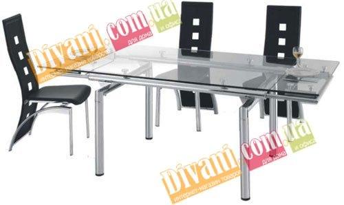 Стол стеклянный раскладной 628 - 1400(+600) мм
