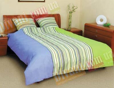 Полуторный комплект постельного белья Линия сине-зеленая -523