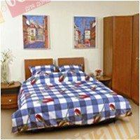 Двухспальный комплект постельного белья Роза в синей клетке -525
