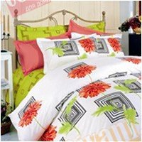 Двухспальный комплект постельного белья Красная хризантема -603