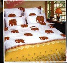 Двухспальный комплект постельного белья Желтые слонята -648