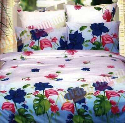 Двухспальный комплект постельного белья Голубая монстера -657