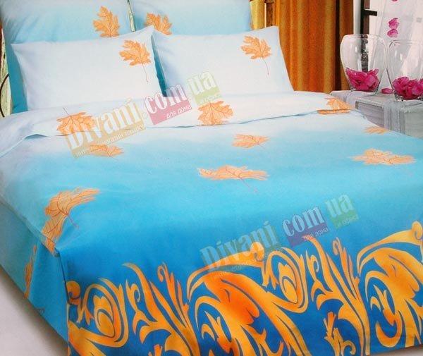 Двухспальный комплект постельного белья Осенний лист голубой -667