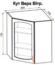 Угол верх витрина кухня Паула