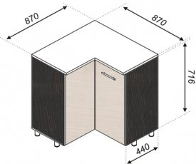 Тумба нижняя угловая 87х87 Наоми