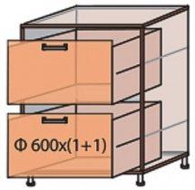 Модуль №10 ш 600-820 (1+1) низ кухни «Квадро»