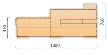 Модуль Оттоманка Отт70*180б/я без быльца для модульного дивана Модена