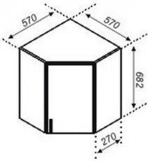 Тумба верхняя угловая 57×57 Корона.Тюльпан