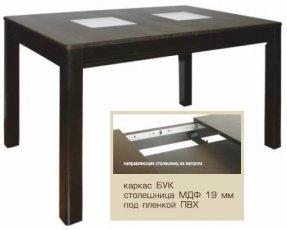 Стол раскладной Берлин МДФ 1150(1550)*750 стекло