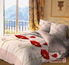 Евро комплект постельного белья Красный мак