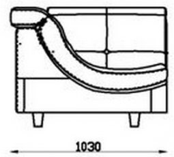 Модуль Уп103 кожаного модульного дивана Моррис