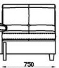 Модуль Л1С75 (П1С75) кожаного диван а Моррис