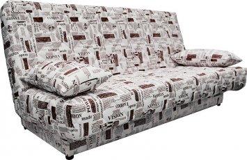 Ньюс без подлокотников в ткани Газета с двумя подушками