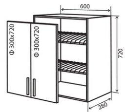 Модуль №7 в 600-720 верх кухни сушка «Техас»