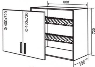 Модуль №9 в 800-720 верх кухни витрина сушка «Техас»