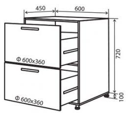 Модуль №10 в 600-820 низ кухни «Техас»