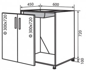 Модуль №13 в 600-820 низ кухни «Техас»