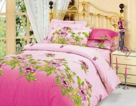 Полуторный комплект постельного белья Розовая клеопатра -711