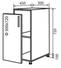 Модуль №2 н 300-820 низ кухни «Максима»