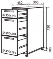 Модуль №8 ш 300-820 (1+2) низ кухни «Максима»