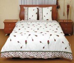 Евро комплект постельного белья Бутон красной розы -516