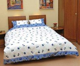 Евро комплект постельного белья Синяя роза распущенная -518