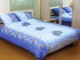 Евро комплект постельного белья Большая синяя ромашка -544