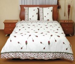 Двухспальный комплект постельного белья Бутон красной розы -516